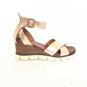 MIA Rose Gold Ankle Strap Wedges Size 8.5